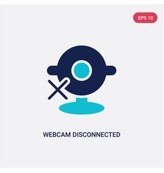 Two color webcam disconnected icon from computer vector