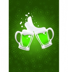 two St Patrick's beer mug vector image