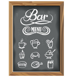 Vintage chalkboard with bar menu and food icons vector