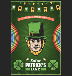 vintage colored st patricks day poster vector image