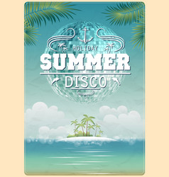 Vintage seaside view poster vector