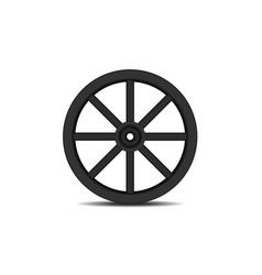 Vintage wooden wheel in black design with shadow vector