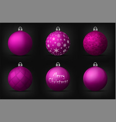 Violet christmas balls with silver holders set of vector