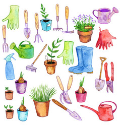 Watercolor garden doodle set vector