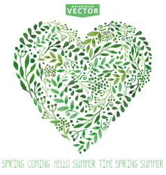 Watercolor green branches heart composition vector