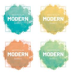 Watercolor set banner modern art design vector