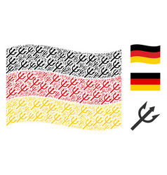 waving germany flag collage of trident fork icons vector image