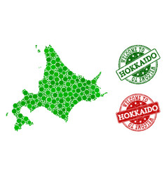Welcome collage of map of japanese hokkaido and vector