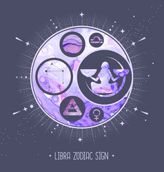 Witchcraft card with astrology libra zodiac sign vector