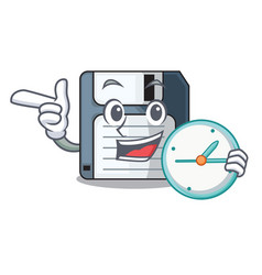With clock floppy disk isolated with a mascot vector