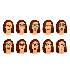 Woman with glasses facial expressions gestures vector