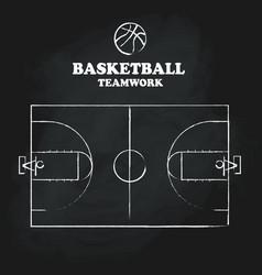 basketball court floor vintage hand drawn vector image vector image