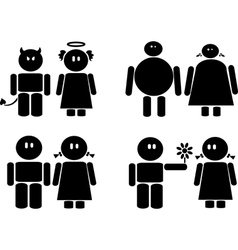 Black icons of couples vector image vector image