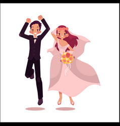 groom and bride dancing isolated vector image vector image