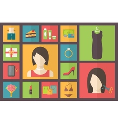 Set of flat design beauty concept icons Woman vector image vector image