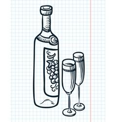 bottle of vine vector image