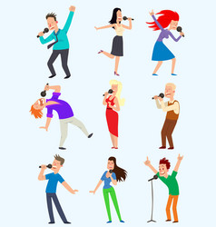 cheerful corporate party singing people with vector image