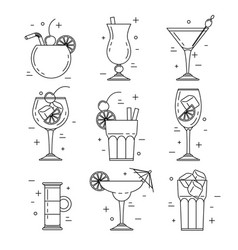 cocktail alcoholic set vector image