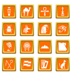 egypt travel items icons set orange vector image