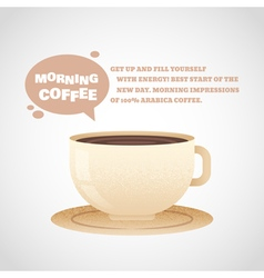Flat coffee cup in cartoon style isolated postcard vector image vector image