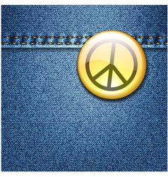 Peace Badge on Denim vector image
