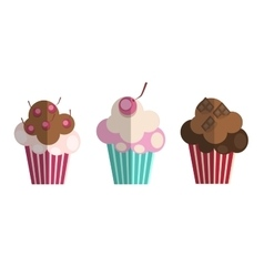 Set of Paper Flat Cupcakes vector image