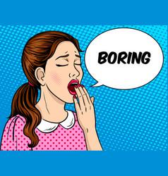 yawning girl pop art style vector image vector image