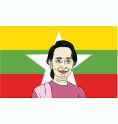aung san suu kyi president of myanmar with flag vector image vector image