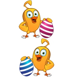 Cartoon Chick Holding Easter Egg vector image vector image