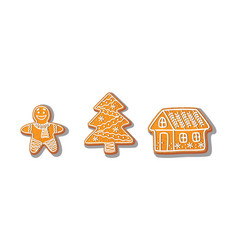 gingerbread cookies set isolated vector image