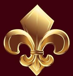 Gold Fleur De Lis symbol vector image