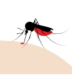 Mosquito bite silhouette with drop of blood vector
