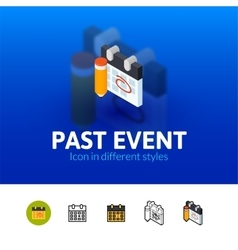 Past event icon in different style vector image vector image