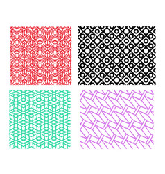 set of geometric pattern in linear style vector image vector image
