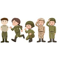 Set of people in soldier uniform vector image vector image
