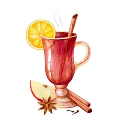 Watercolor mulled wine vector