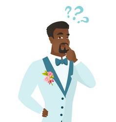 young african-american groom with question marks vector image vector image
