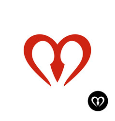 letter m heart style logo vector image vector image
