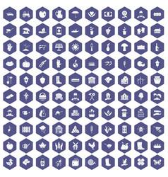 100 farm icons hexagon purple vector