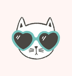 adorable face or head cat wearing heart-shaped vector image