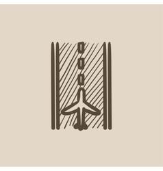 Airport runway sketch icon vector image