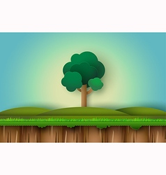 alone tree in field vector image