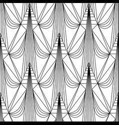 Art deco pattern fanning seamless black and white vector