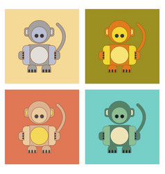 Assembly flat icons kids toy monkey vector