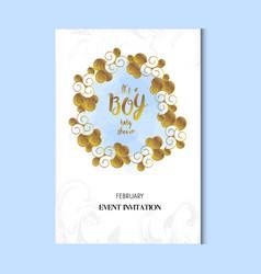 Baby shower boy invitation card template vector