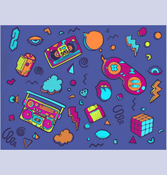 back to the 90s set of stickers pins patches in vector image
