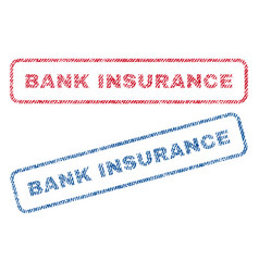 Bank insurance textile stamps vector