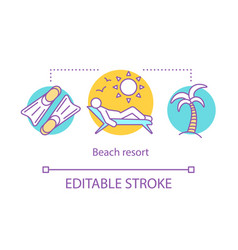 beach resort concept icon time together idea thin vector image
