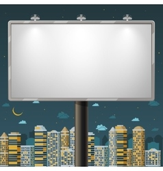 Blank billboard at night time vector image
