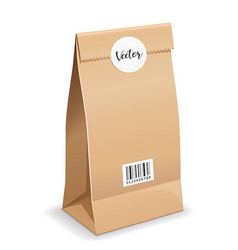 Brown paper bag folded mouth bag there are circle vector